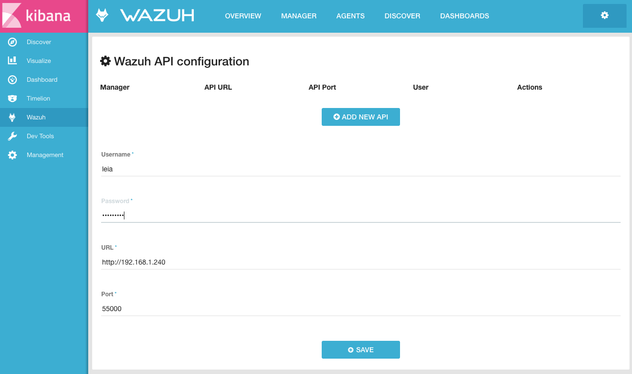 Connect the Wazuh App with the API ‐ Install Elastic Stack