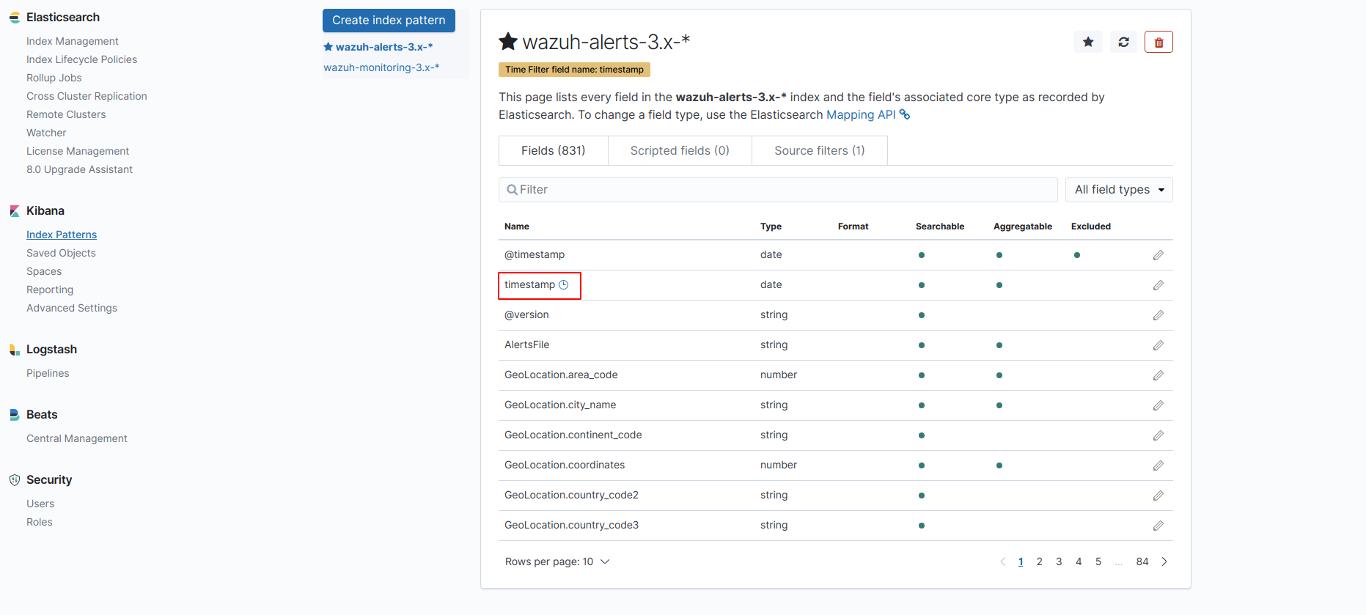 Index pattern selector ‐ App features · Wazuh 3 10 documentation