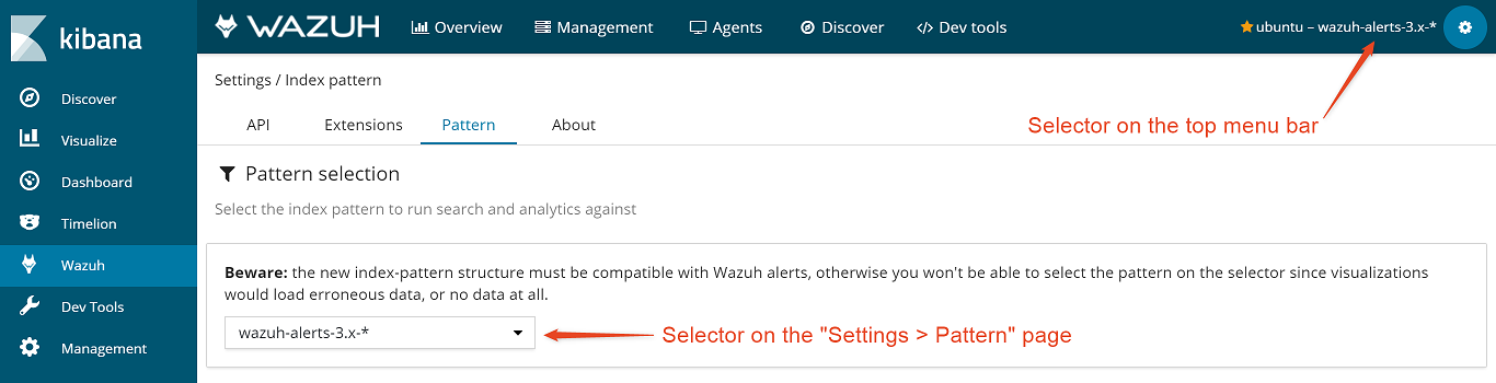 Index pattern selector ‐ App features · Wazuh 3 7 documentation