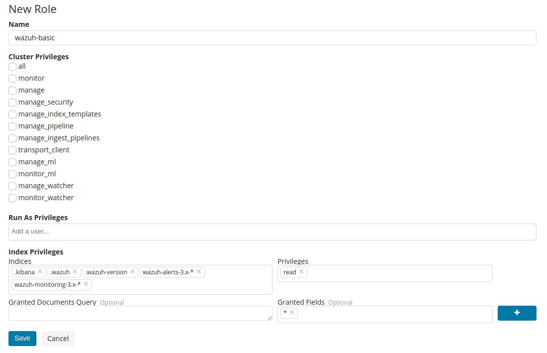 Configure X-Pack users ‐ Wazuh app and X-Pack · Wazuh 3 8